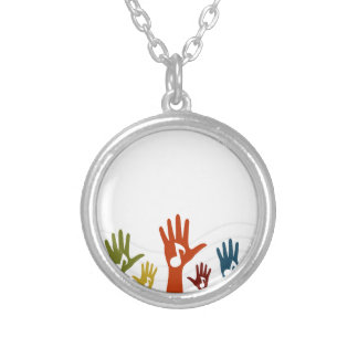 Hand music silver plated necklace