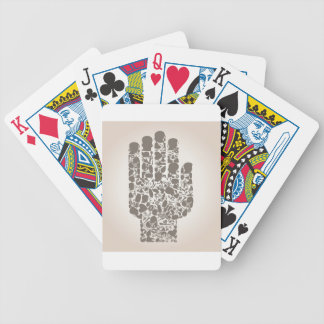 Hand of a part of a body bicycle playing cards