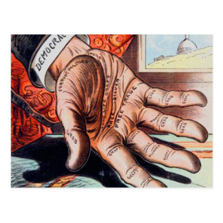 Hand of Democracy Vintage Retro Illustration Postcard