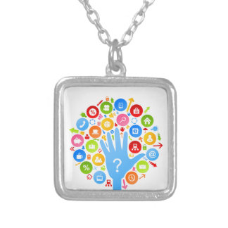 Hand office2 silver plated necklace