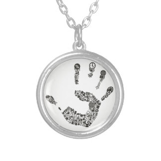 Hand office silver plated necklace