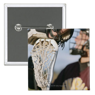 Hand on a Lacrosse Stick 15 Cm Square Badge