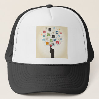 Hand on the button trucker hat