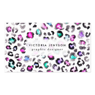 Hand paint Leopard print pattern multi watercolor Pack Of Standard Business Cards