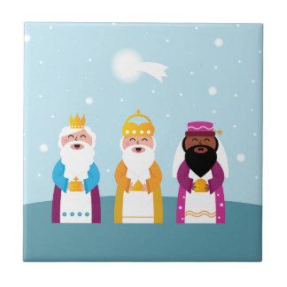 Hand painted 3 kings ceramic tile