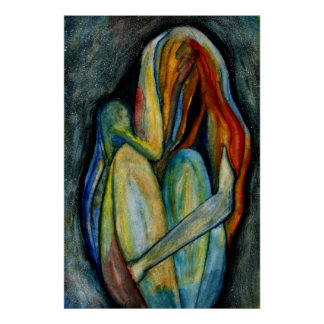 Hand Painted Abstract Figure Watercolor Fine Art Poster