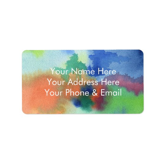 Hand-Painted Abstract Watercolor Blue Orange Green Label