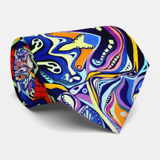 Hand painted Art Deco pattern  - orange and blue Tie