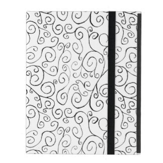 Hand-Painted Black Curvy Pattern on White iPad Folio Case