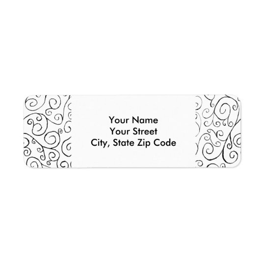 Hand-Painted Black Curvy Pattern on White label Return Address Label