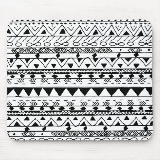 Hand painted black white watercolor aztec pattern mouse pad