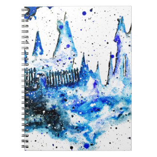 Hand Painted Blue Medieval Castle Notebook