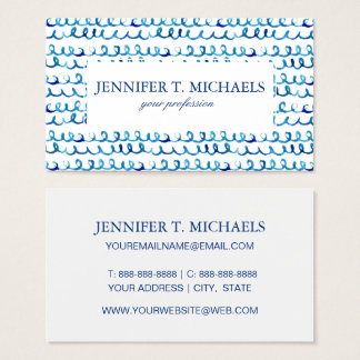 Hand Painted Blue Watercolor Wavy Pattern Business Card