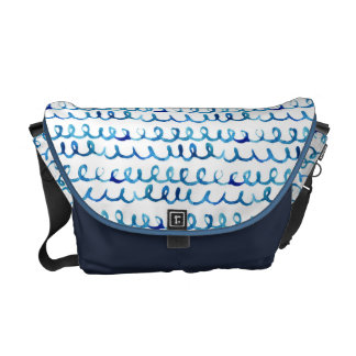 Hand Painted Blue Watercolor Wavy Pattern Commuter Bag