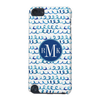 Hand Painted Blue Watercolor Wavy Pattern iPod Touch (5th Generation) Cover