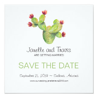 Hand painted Cactus Wedding Save the Date Card