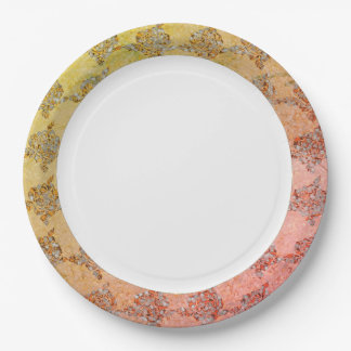 Hand-Painted_China-Golden-Sea-glass-Fabric-Print 9 Inch Paper Plate