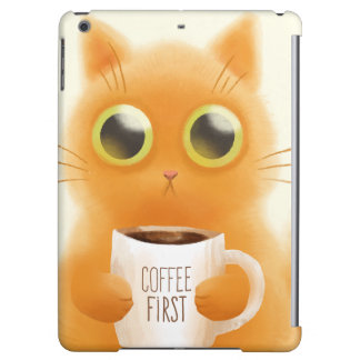 Hand painted cute kitten with coffee first cup iPad air case