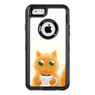 Hand painted cute kitten with coffee first cup OtterBox defender iPhone case