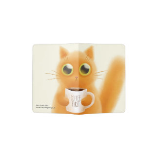 Hand painted cute kitten with coffee first cup passport holder