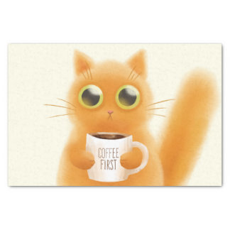 Hand painted cute kitten with coffee first cup tissue paper