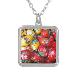 Hand-painted-Easter-eggs Silver Plated Necklace