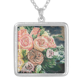 Hand Painted Floral Bouquet Necklace