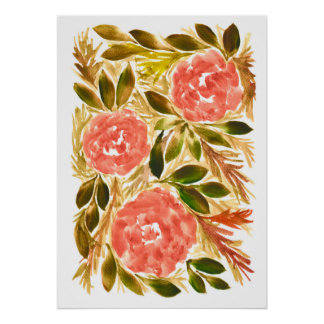 hand painted flowers1b poster