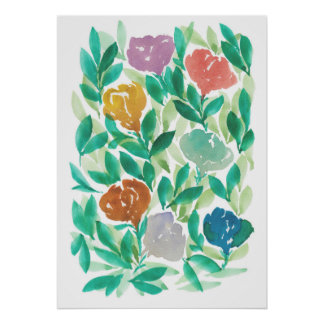 hand painted flowers1d poster