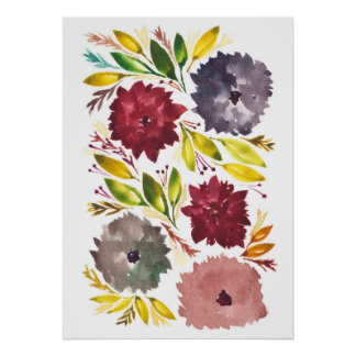 hand painted flowers1e poster