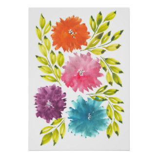 hand painted flowers2c poster