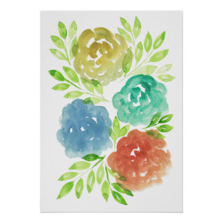 hand painted flowers2f poster