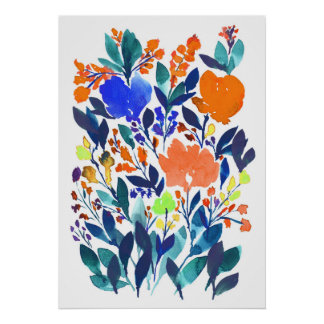 hand painted flowers 3 poster