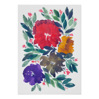 hand painted flowers 3a poster
