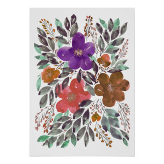 hand painted flowers 3b poster