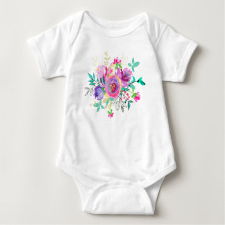 Hand painted flowers baby bodysuit