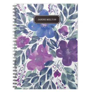 hand painted flowers notebook