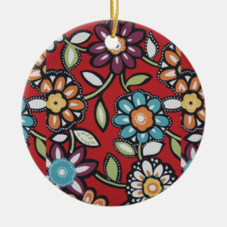 hand painted flowers ornament