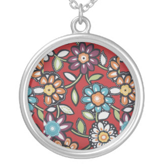 hand painted hippie flowers necklace
