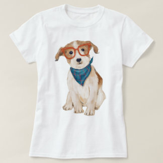 Hand-painted Hipster Jack Russell Terrier Dog T-Shirt