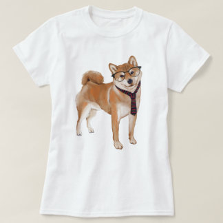 Hand-painted Hipster Shiba Inu Japanese Dog T-Shirt