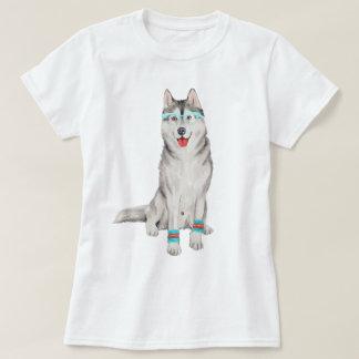 Hand-painted Hipster Siberian Husky Dog T-Shirt