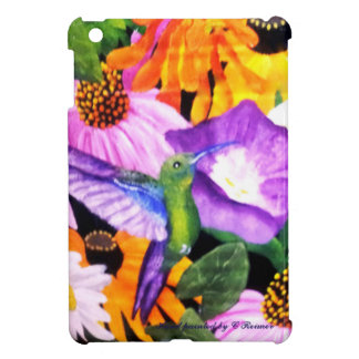 Hand painted Hummingbird with Floral Background iPad Mini Covers