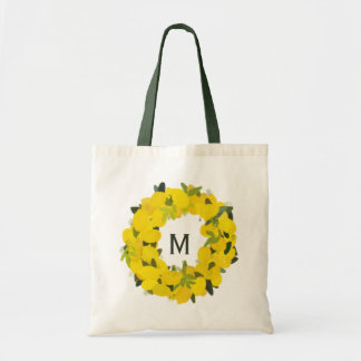 Hand Painted Lemon Wreath Monogram Tote Bag