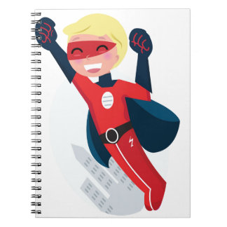 Hand painted little Hero flying Spiral Notebook