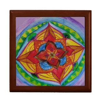 Hand painted mandala Tile Gift Box, Golden Oak Gift Box