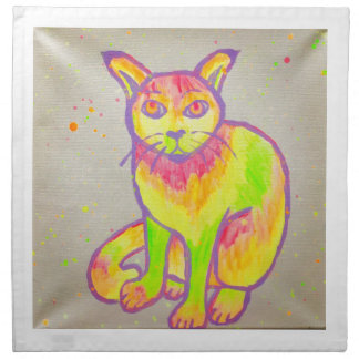 Hand Painted Neon Cat Cloth Napkins