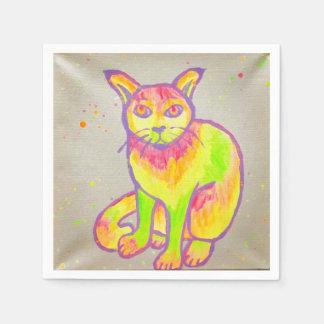 Hand Painted Neon Cat Cocktail Napkins Disposable Serviettes