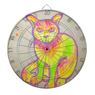 Hand Painted Neon Cat Dartboard
