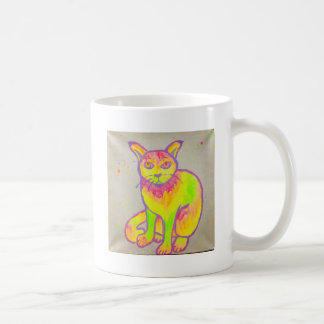 Hand Painted Neon Cat Mug